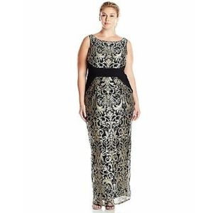 Adrianna Papell Black Gold scroll dress gown 10 20
